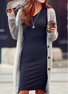 Comfortable Long Sleeve V Neck Knee Length Dress buy cheap Comfortable Long Sleeve V Neck Knee Length Dress at martofchina.com