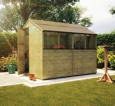 8 x 6 Pressure Treated Apex Windowed Wooden Garden Shed Tongue And Groove