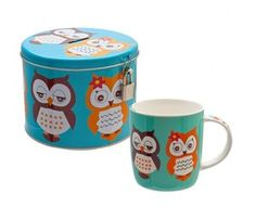 New Cute Ceramic Owl mug in tin Owl Moneybox - with padlock & key  Visit our family business...The Ginger Sheep £9.99
