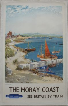 The Moray Coast - Findhorn Bay, by Frank H Mason. Beautiful tranquil watercolour of quite a hive of activity in northern Scotland. There are boats at anchor, boats moored at the coast, fishermen, walkers and a lot of people up at the village. The entire painting is brought together by the russet-red sail on the central boat - a Mason trademark colour, so rich and warm as to bring a feeling of summer to the scene. Original Vintage Railway Poster available on originalrailwayposters.co.uk