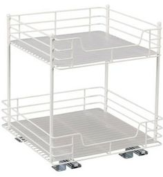 This 15 Inch Double Pull Out Cabinet Shelf is a durable pull out pantry shelf with plenty of storage space for organizing canned goods and other kitchen supplies like cooking oil and food storage containers. Featuring sturdy construction from thick metal wire this pull out cabinet shelf has glides smoothly along its fu