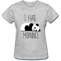 I Hate Mornings Sleeping Panda Women's T-Shirt Girl Tee Too Cute Funny... ($17) ❤ liked on Polyvore featuring tops, t-shirts, shirts, tees, light blue, women's clothing, graphic tees, sports shirts, print shirts and henley t shirt