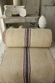 Vintage homespun hemp Stair runner textile ~ ideal for Beach house interiors… Hemp Fabric, Linen Fabric, Textiles, French Country Interiors, Lino Natural, French Fabric, Linens And Lace, Chair Fabric, French Vintage