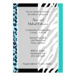 Anniversary - Animal Print Zebra Leopard - Blue Magnetic Card