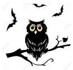 Negro Halloween Búho En La Rama Del árbol Ilustraciones Vectoriales, Clip Art Vectorizado Libre De Derechos. Image 22473706.