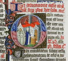 Decorated initial from the Chicheley Breviary showing a bishop dedicating a church. [LPL MS69 f.192v.]