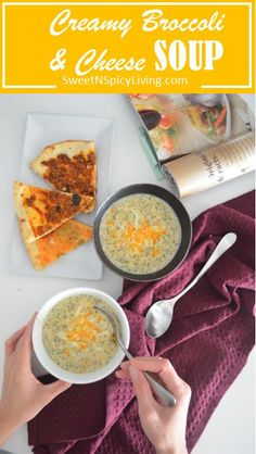 Meat Free Monday: Creamy Broccoli and Cheese Soup For Two Broccoli Soup, Broccoli And Cheese, Dinner For 2, Egg Drop, Corn Soup, Cheese Soup, Soup Recipes, Meat, Fruit