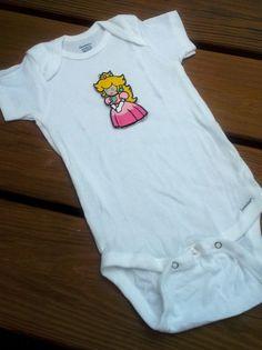 e8fdd9179 Princess Peach Onesie baby layette - Nintendo Super Mario Brothers Baby  clothes layette - custom na