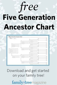 Free Five Generation Ancestor Chart | Genealogy Information for Historians, Mormons, LDS and more! from http://FamilyTreeMagazine.com