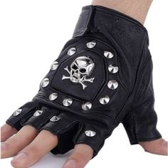 Efashionmx Mens Skull Studded Pu Leather Driving Motorcycle Biker... ($9.90) ❤ liked on Polyvore featuring men's fashion, men's accessories, men's gloves, mens fingerless gloves, mens gloves and mens motorcycle gloves
