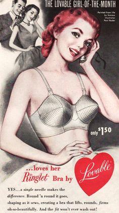 Ringlet Bra by Lovable 1952 Lingerie Vintage Bra, Vintage Underwear, Vintage Dior, Vintage Vogue, Retro Vintage, Vintage Fashion, 1950s Fashion, Poster Vintage, Vintage Girls
