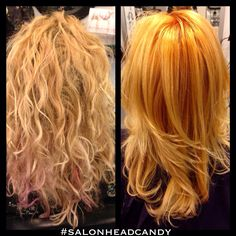 Hair color makeover from a light blonde to a perfectly blended strawberry blonde color melt by Robin! Wella Koleston 8/34 at the root area, 9/3 with pastel at mids, blended to ends with conditioner!