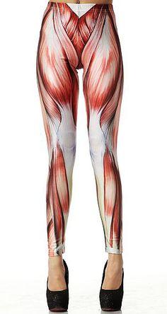 Leggings moulant à motif Muscle élastique-Rouge