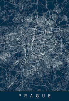PRAGUE MAP PRINT Prague Map Art High by EncoreDesignStudios