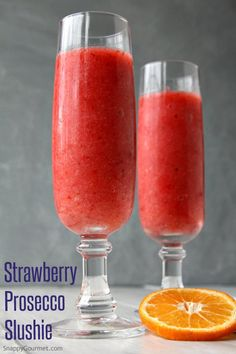 Strawberry Prosecco Slushie - an easy frozen wine cocktail! SnappyGourmet.com
