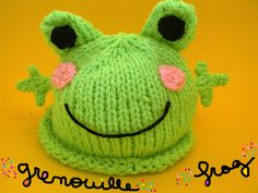 Cute Frog Hat Hand Knitted