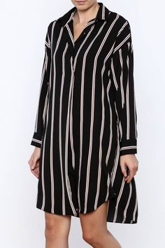 Stripe shirtdresswith long sleeves, collared neckline and a high low hem.    One size fits sizesxsmallthrough small.   Espresso Time Shirtdress by Pinkyotto. Clothing - Dresses Boston, Massachusetts Nolita, Manhattan, New York City
