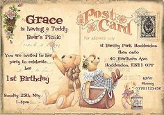 personalised #childrens 1st #birthday,teddy #bears picnic,postcard invitations, View more on the LINK: http://www.zeppy.io/product/gb/2/290910074569/