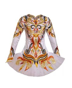 Siopa Rince 2014: white with gold, rust, black Irish dance solo dress.  Gorgeous.