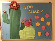 """Stay sharp"" bulletin board with tips for the upcoming school year College Bulletin Boards, Birthday Bulletin Boards, Spring Bulletin Boards, April Bulletin Board Ideas, Ra Themes, School Themes, Classroom Themes, Resident Assistant Boards, 1st Grade Crafts"