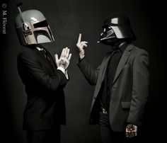 Boba Fett and Darth Vader in suits