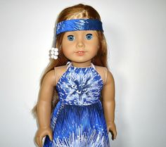 American Girl Maxi Dress with Headband Beads Blue by apriljunebug, $21.00