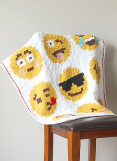C2C Crocheted Emoji Blanket