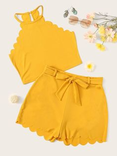 To find out about the Scallop Keyhole Back Halter Top With Belted Shorts at SHEIN, part of our latest Two-piece Outfits ready to shop online today! Girls Fashion Clothes, Teen Fashion Outfits, Girl Fashion, Girl Outfits, Clothes For Women, Fashion Design, Cute Summer Outfits, Cute Casual Outfits, Stylish Outfits