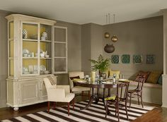 Benjamin Moore:  Kingsport gray HC-86: walls, Tapestry beige OC-32:ceiling, Golden Tan 2152-40;cabinet and accents