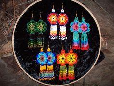 Flower-Shaped Huichol Design Peyote Stitch Seed Beaded Earrings. $20.00, via Etsy.