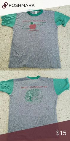 Vintage Race T-shirt Men's Large Heather Grey and Green soft race tshirt Shirts Tees - Short Sleeve