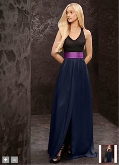 Long bridesmaid dress features structured bodice, soft skirt and back bow detail. Long V-neck halter gown with matte crepe bodice, soft charmeuse skirt and contrast satin sash. Trapunto-stitched satin sash adds a fashion-forward detailing. Or make the look your own with a White by Vera Wang floral, grosgrain or horsehair sash. Available in stores and online in Ebony/Charcoal with a Willow sash and Ebony/Midnight with a Cassis sash.