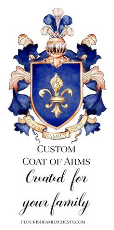 Gift a custom coat of arms or original family crest. These are drawn by hand and created just for you! Family Crest Symbols, Family Crest Tattoo, Family Crest Rings, Hostess Cupcakes, Pecan Cobbler, Create A Family, Crests, Coat Of Arms, Ideas