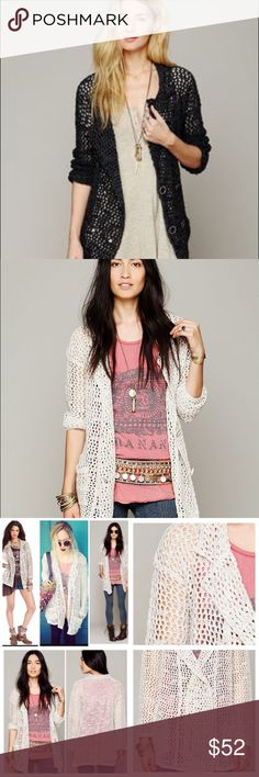 ⭐️Free People Mesh Sweater CHARCOAL Two oversize pockets on the sides,like New Free People Sweaters Cardigans