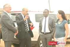 The Chief Operating Officer of Zoomlion Group of Companies, Mr Mohkles Bustami (2nd left), explaining a point to the Israeli Ambassador to Ghana, Mr Ami Mehl (left), and the team from the Israeli Embassy in Ghana.