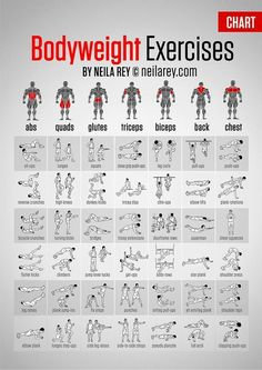 This guide shows different exercises for different parts of the body.