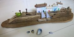 Wooden houses -nautical decor - gifts for men- driftwood art - driftwood cottages - driftwood - Harbour scene - fishing harbour - uk seller by itsaMessyNest on Etsy