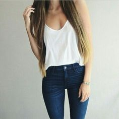 top t-shirt blouse long hair jeans spring white singlet white tank top navy denim outfit white