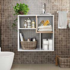 Nichos de madeira: 70 ideias e tutoriais para organizar a casa com estilo Decor, Furniture, House Design, Toilet Paper, Shelves, Master Bathroom, Art Decor, Home Decor, Bathroom Design