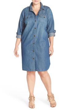 Two by Vince Camuto Soft Denim Shirtdress (Plus Size)