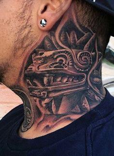 80 Aztec Tattoos For Men - Ancient Tribal And Warrior Design.- Aztec Neck Tattoo For Men - Mayan Tattoos, Mexican Art Tattoos, Polynesian Tattoos, Neck Tattoo For Guys, Tattoos For Guys, Aztec Warrior Tattoo, Aztec Tattoos Sleeve, Chicano Art Tattoos, Xoil Tattoos