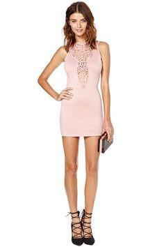 Take Notice Crochet Dress - Blush