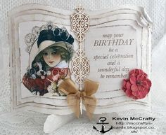 Scrap & Craft: Birthday Book Card using products from http://scrapandcraft.co.uk/ #Birthday #Vintage #Book #chipboard