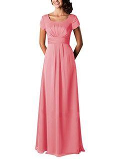 Tideclothes Long Bridesmaid Dress Chiffon Prom Evening Dress Short Sleeves Coral US2 Tideclothes http://www.amazon.com/dp/B01A4ZPJO2/ref=cm_sw_r_pi_dp_sAj6wb0829J01