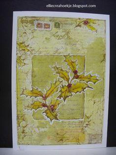 Katzelkraft roodgroen scrapbookpaper hollybranch (1)