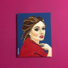 A costumer asked me to paint Adele and this is the finished work.  27x35 - Acrylic on canvas