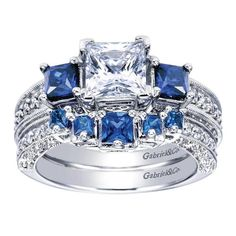 This princess cut sapphire engagement ring is full of sparkle.