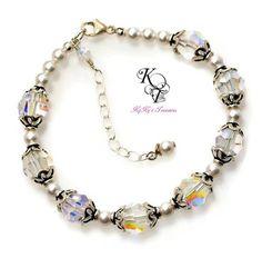 Crystal Bridal Bracelet, Swarovski Crystals, Wedding Jewelry, Bridal Jewelry, Crystal Bracelet, Sterling Silver Bracelet