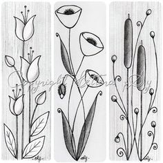 Flower Drawing Flower doodle ideas - love the length and flow - these would make lovely bookmarks. Tangle Doodle, Doodles Zentangles, Zen Doodle, Zentangle Patterns, Doodle Art, Embroidery Patterns, Flower Sketches, Drawing Flowers, Simple Flower Drawing