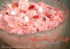 Strawberry Fluff Salad- This was a hit at Easter dinner. There might be a cup of it left. It was very light, and so good in flavor. I loved the fresh strawberries. I will totally make this again. I'll even play around with the fruit/jello combos. Very good!!